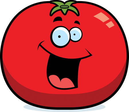 A cartoon red tomato smiling and happy.