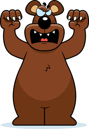 growl: A cartoon bear with claws out ready to attack. Illustration