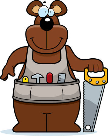 woodworking: A cartoon woodworking bear with a saw.