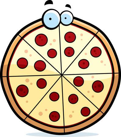A cartoon pepperoni pizza pie with eyes. Иллюстрация