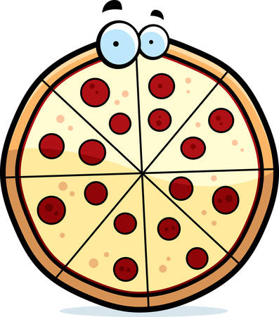 pizza pie: A cartoon pepperoni pizza pie with eyes. Illustration