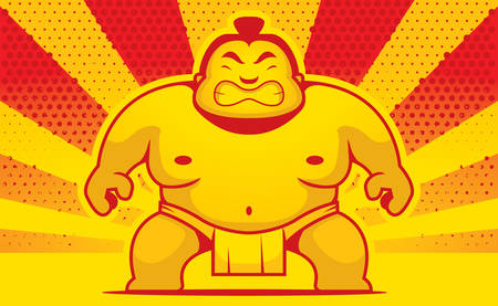 wrestler: A cartoon sumo wrestler with an angry expression. Illustration