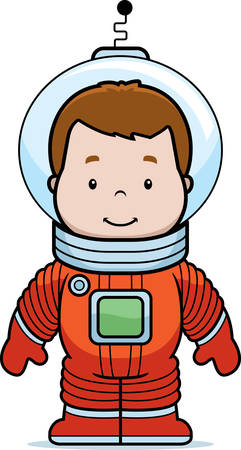spacesuit: A cartoon boy astronaut in a spacesuit.