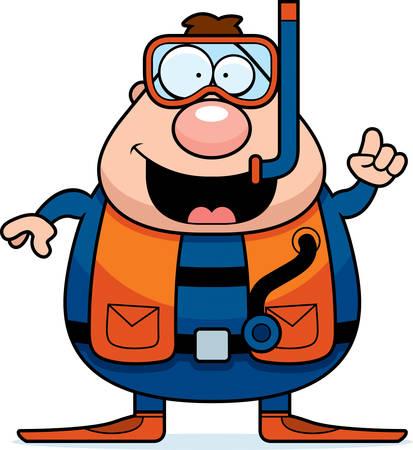 talking cartoon: A cartoon scuba diver with an idea.