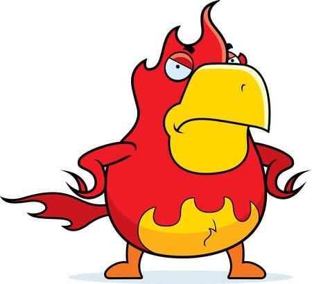 ave fenix: Un ave fénix de dibujos animados con una expresión enojada.