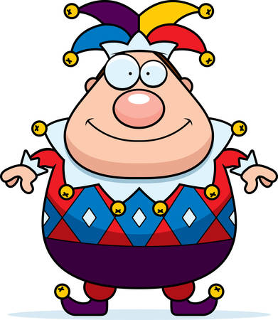 A cartoon jester standing and smiling.