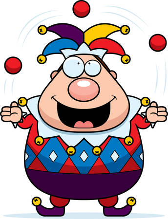 A cartoon jester juggling and smiling.