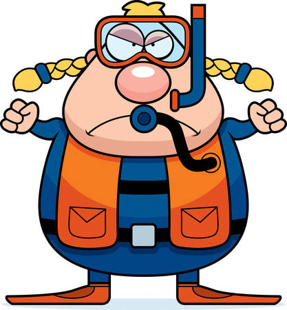 A cartoon scuba diver with an angry expression.