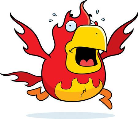 A cartoon phoenix running in a panic. Illustration