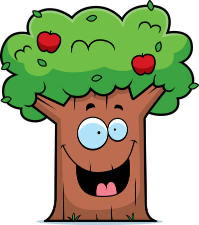 A cartoon apple tree smiling and happy.