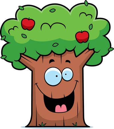 Een cartoon appelboom glimlachen en gelukkig.