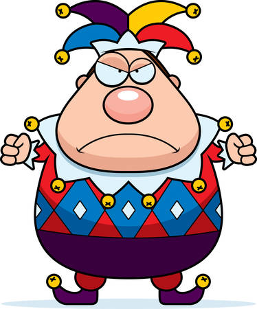 A cartoon jester with an angry expression.