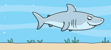 sea side: A cartoon shark swimming underwater.
