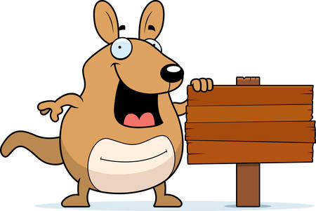 wallaby: A cartoon wallaby with a wooden sign. Illustration