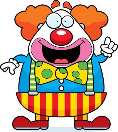 A happy cartoon clown with an idea.