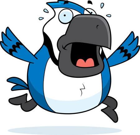 A cartoon blue jay running in a panic.