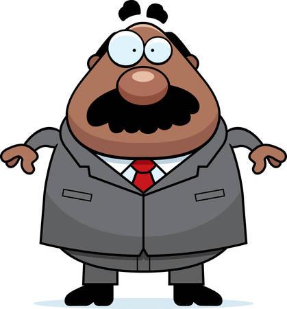 guy standing: A cartoon boss with a mustache.