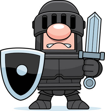 villain: A cartoon knight in a black suit of armor.