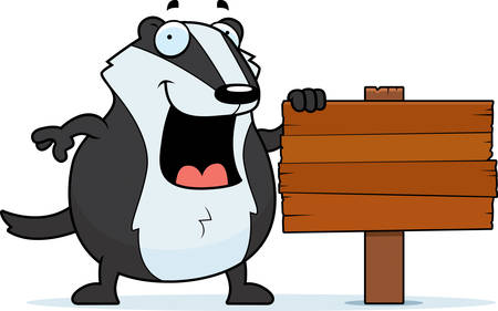 badger: A cartoon badger with a wooden sign.