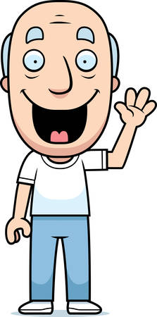 man standing: A happy cartoon man waving and smiling. Illustration