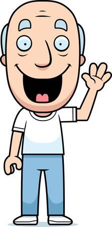 A happy cartoon man waving and smiling. Illustration