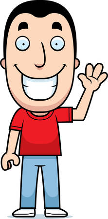 happy people: A happy cartoon man waving and smiling. Illustration
