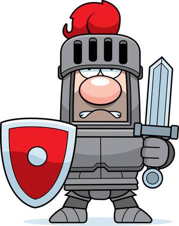 Een cartoon ridder in harnas met zwaard en schild.
