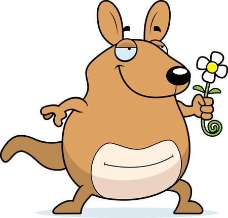 joey: A cartoon wallaby with a flower.