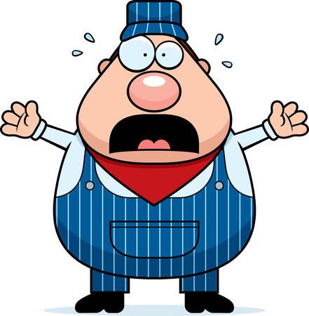 panic: A cartoon train conductor worried and panicking.