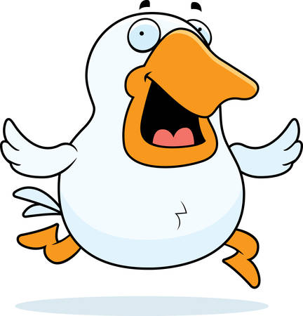 A happy cartoon goose running and smiling.