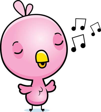 chirp: A cartoon illustration of a baby pink bird singing. Illustration