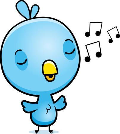 chirp: A cartoon illustration of a baby blue bird singing.