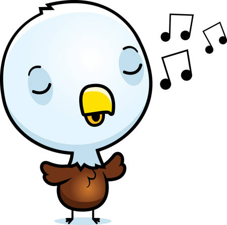 chirp: A cartoon illustration of a baby eagle singing.