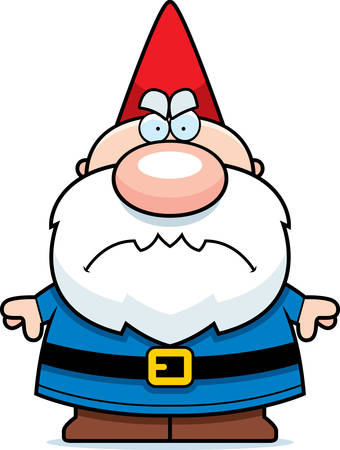 A cartoon illustration of a gnome looking angry.
