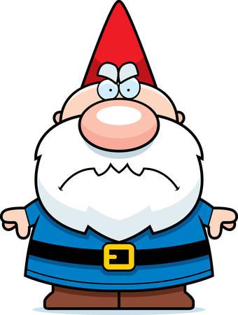 Een cartoon illustratie van een kabouter op zoek boos.