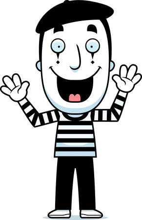mime: A cartoon illustration of a mime smiling. Illustration