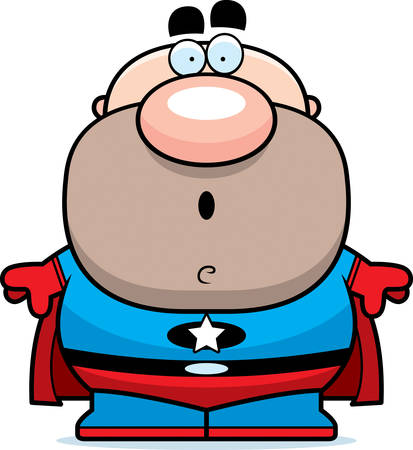 guy standing: A cartoon illustration of a superhero looking surprised.