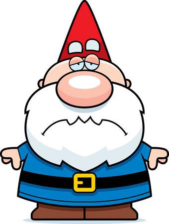 gnome: A cartoon illustration of a gnome looking sad. Illustration