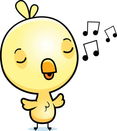 A cartoon illustration of a baby chick singing.