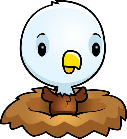 A cartoon illustration of a baby eagle in a nest. Illustration