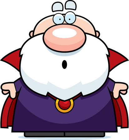 guy standing: A cartoon illustration of a wizard looking surprised.