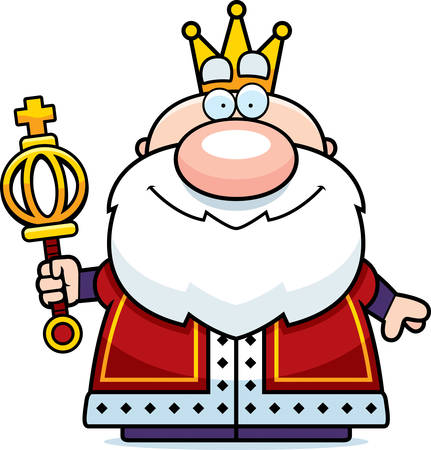 scepter: A cartoon illustration of a king with a scepter.