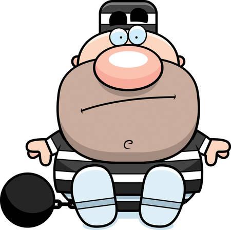 Een cartoon illustratie van een gevangene zitten. Stock Illustratie