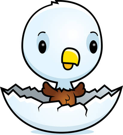 A cartoon illustration of a baby eagle hatching from an egg.