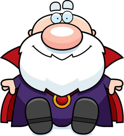 A cartoon illustration of a wizard sitting. 向量圖像