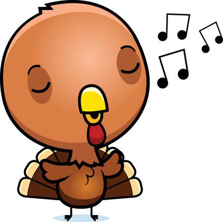 gobble: A cartoon illustration of a baby turkey singing. Illustration