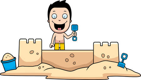 children sandcastle: A cartoon illustration of a boy building a sandcastle.