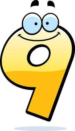 A cartoon illustration of a number nine smiling and happy. Illusztráció
