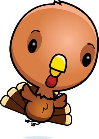 A cartoon illustration of a baby turkey flying. Illustration
