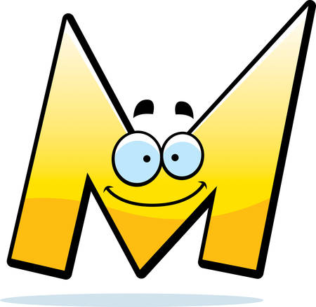A cartoon illustration of a letter M smiling and happy.